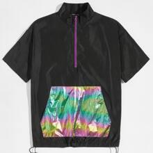 Winddichte Jacke mit Reissverschluss, halber Knopfleiste und holografischer Tasche