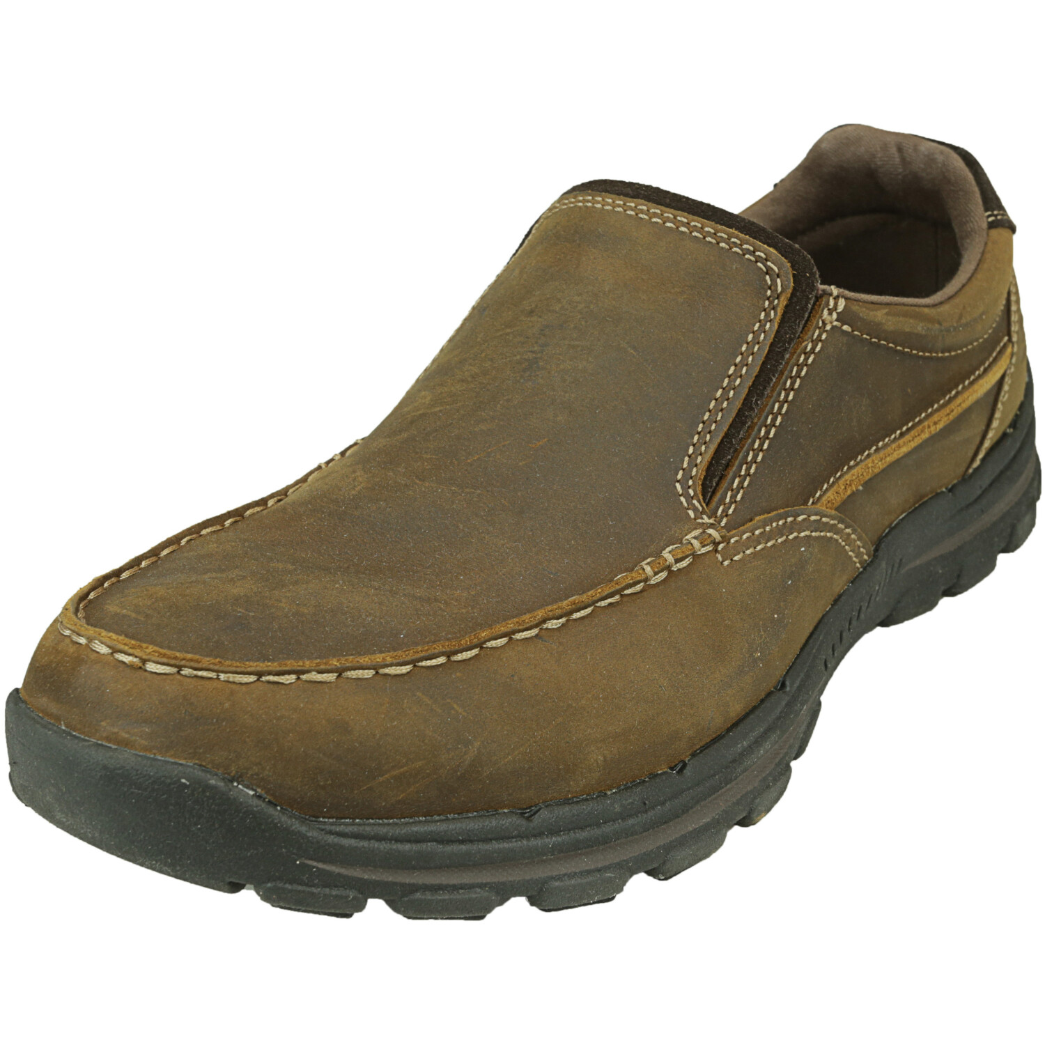Skechers Men's Bravers - Rayland Dark Brown Ankle-High Leather Slip-On Shoes 12W
