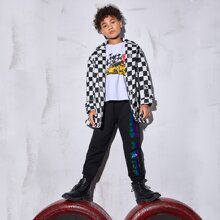 Boys Letter Graphic Checked Puffer Coat