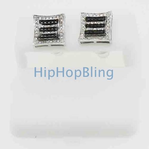Real Diamond Double Kite Striped Bling Bling Earrings .925 Silver