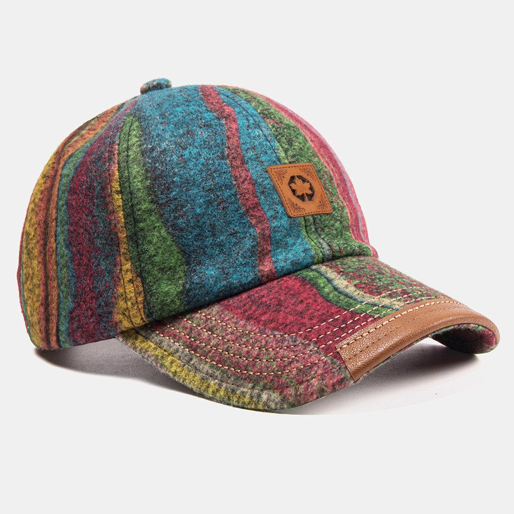 Warm Plush Soft Fabric Plaid Stitching Baseball Caps