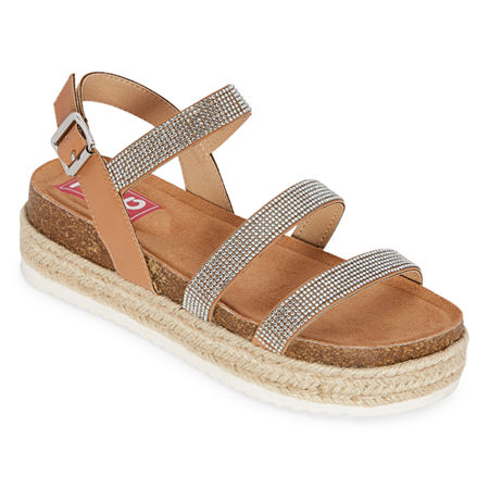Pop Enlighten Womens Ankle Strap Footbed Sandals, 7 1/2 Medium, White