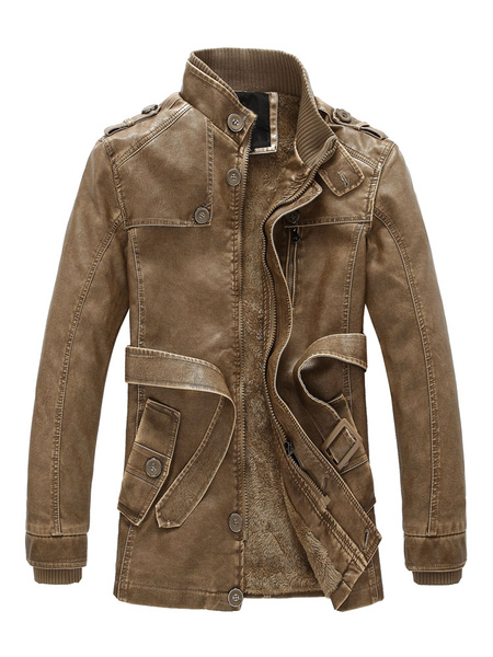 Milanoo Jacket Leather Men Stand Collar Long Sleeve Leather Coat Zipper Button PU Belted Cool Jacket
