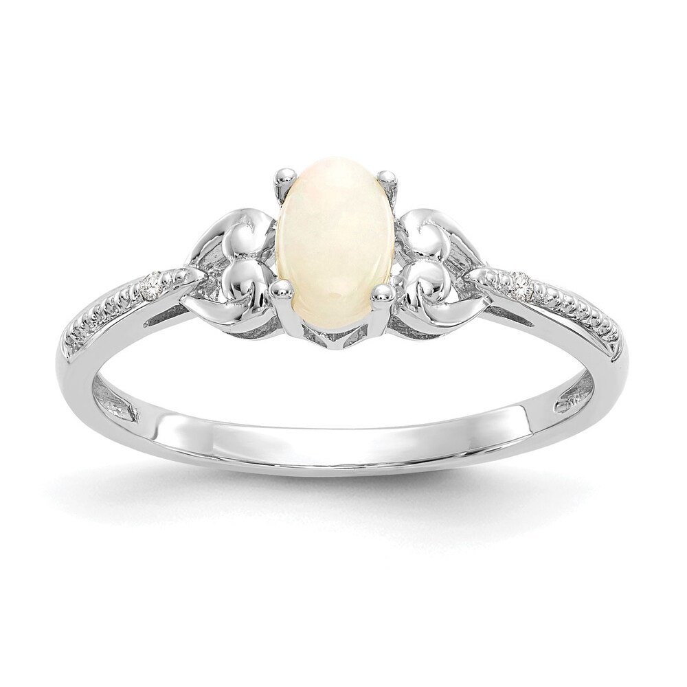 10K White Gold Polished 2mm Opal and Diamond Polished Ring by Versil (White - 7 - Opal - White)
