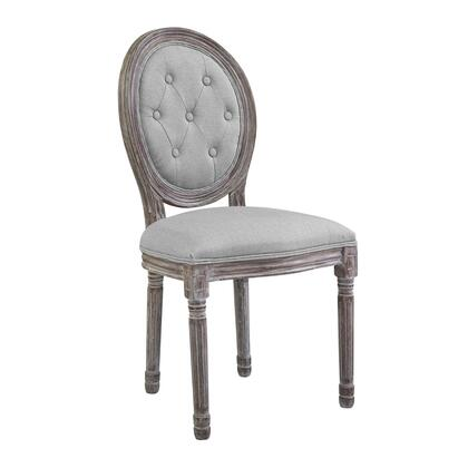 Arise Collection EEI-2795-LGR Dining Side Chair with Dense Foam Padding  Vintage French Style  Louis XVI Design  Fluted Solid Wood Frame and