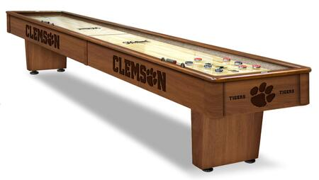 SB12Clmson Clemson 12' Shuffleboard Table with Solid Hardwood Cabinet  Laser Engraved Graphics  Hidden Storage Drawer and Pucks  Table Brush and Wax