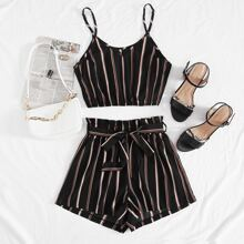 Striped Cami Top & Belted Paper Bag Waist Shorts