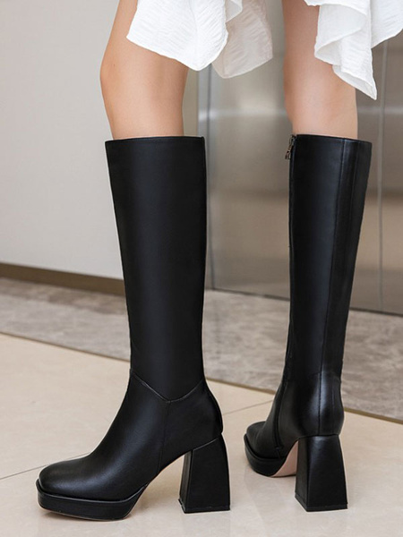 Milanoo Knee-High Boots Cowhide Black Square Toe Chunky Heel Chunky Heel Women\'s Knee High Boots