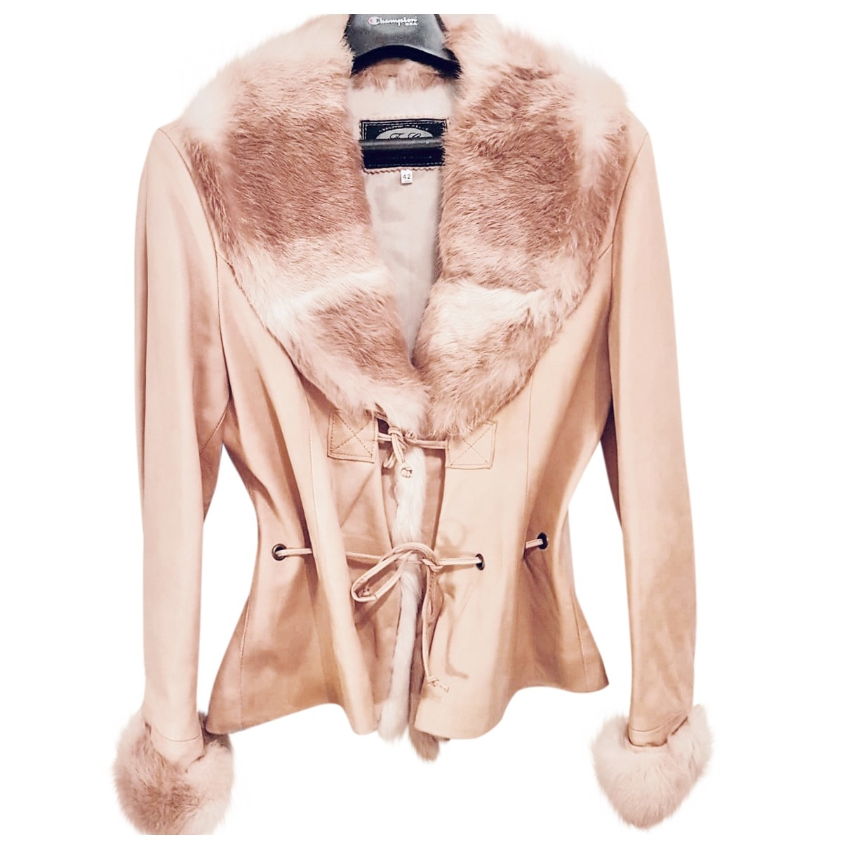 Non Signé / Unsigned \N Pink Leather Leather jacket for Women 42 IT