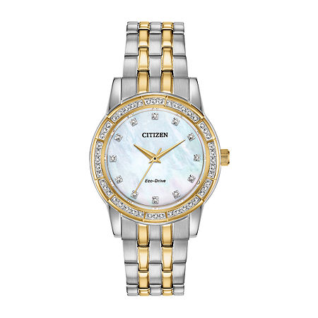 Citizen Silhouette Crystal Womens Crystal Accent Two Tone Stainless Steel Bracelet Watch-Em0774-51d, One Size , No Color Family