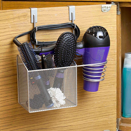 Home Basics Steel Over the Cabinet Hairdryer Organizer Silver, One Size , Silver