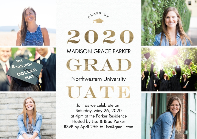 2020 Graduation Invitations 5x7 Cards, Premium Cardstock 120lb with Rounded Corners, Card & Stationery -2020 Graduate Gold by Tumbalina
