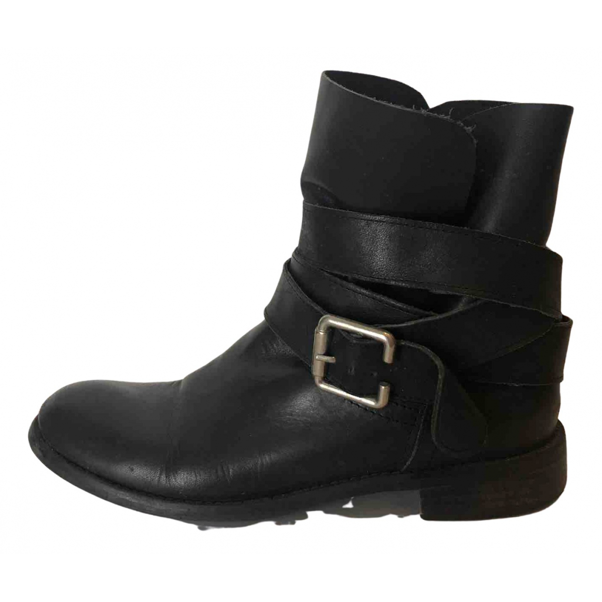 Non Signé / Unsigned N Black Leather Ankle boots for Women 37 EU