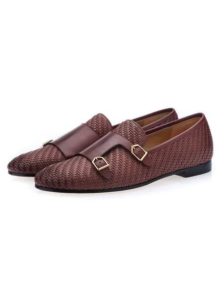 Milanoo  Mens Brown Monk Strap Dress Shoes Loafers Cowhide Prom Dress Shoes with Buckles