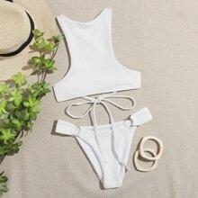 Ring Linked Crisscross Back Bikini Swimsuit