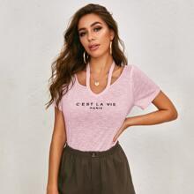 Strick T-Shirt mit Buchstaben Grafik und Ausschnitt