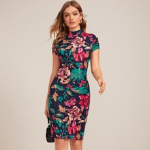 Floral Print Mock Neck Bodycon Dress