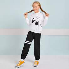 Girls Drop Shoulder Cartoon Graphic Hoodie & Striped Joggers Set