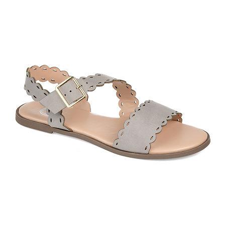 Journee Collection Womens Aubrinn Flat Sandals, 8 1/2 Medium, Gray