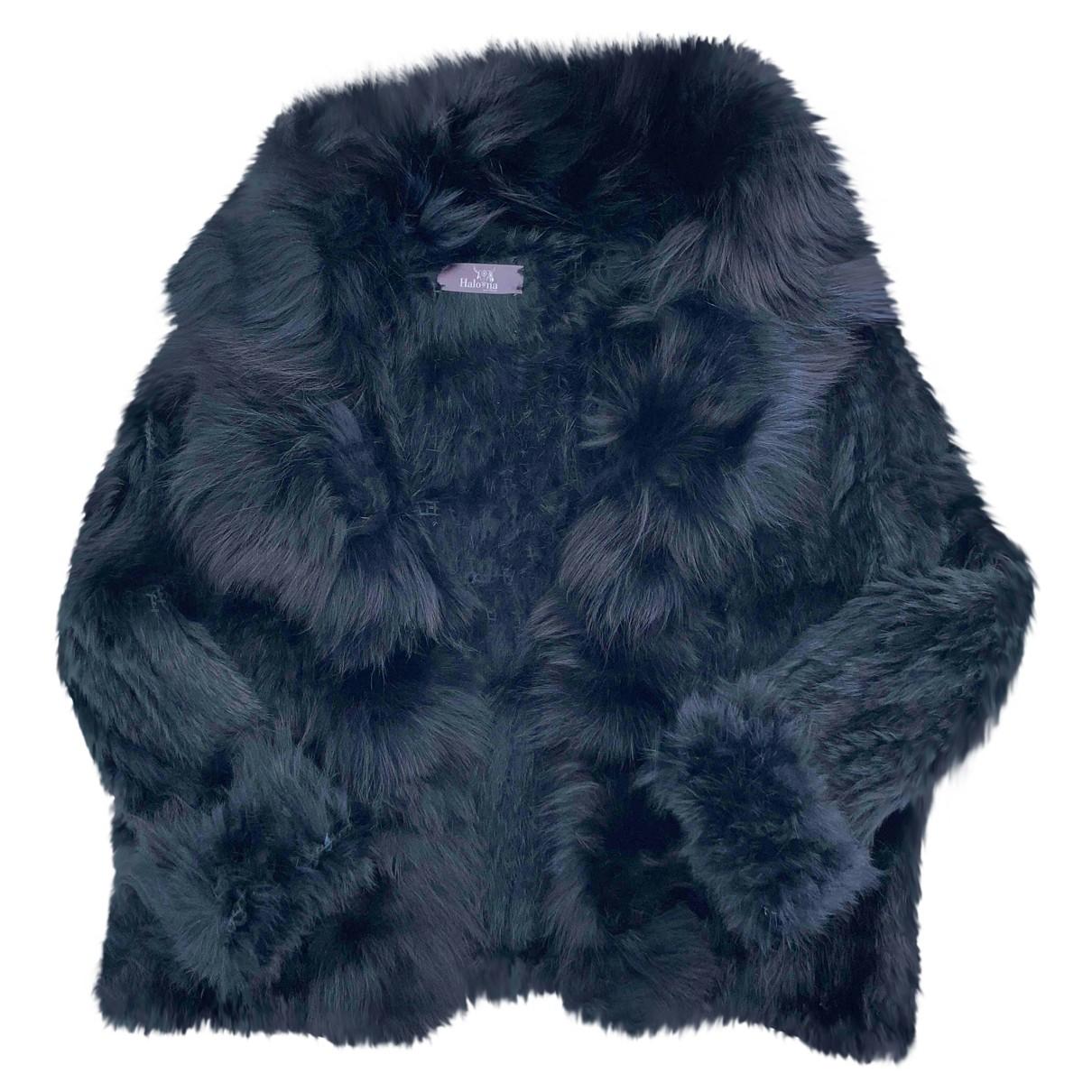 - Manteau   pour femme en lapin - noir