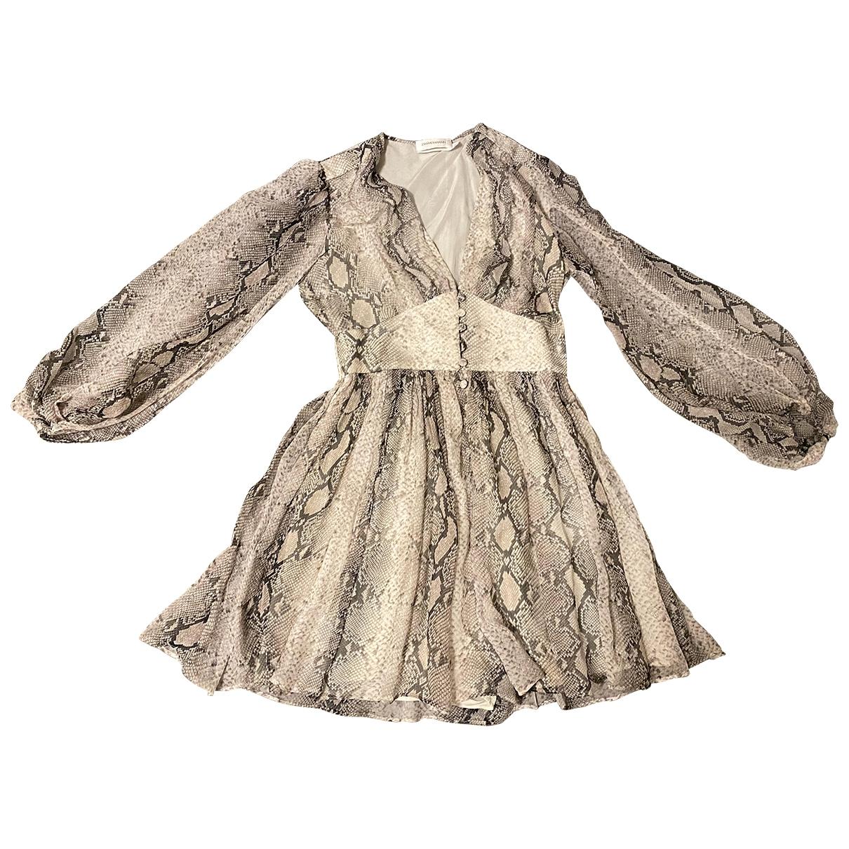 Zimmermann \N Kleid in  Grau Seide