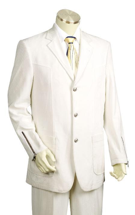 3 Button White Zoot Suit Mens