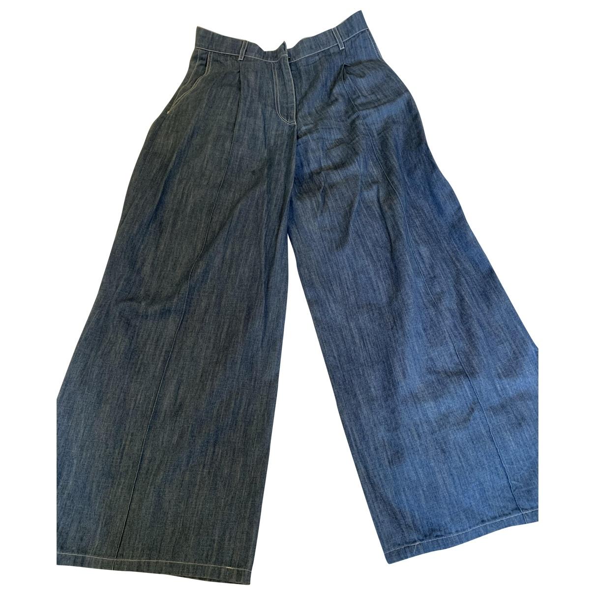 Sonia Rykiel \N Blue Cotton Trousers for Women 38 FR
