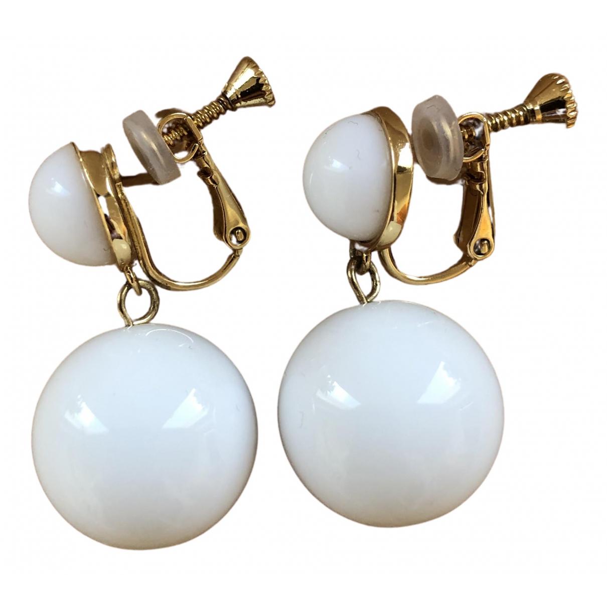 - Boucles doreilles   pour femme en verre - blanc