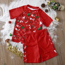 Boys Christmas Print Swimsuit