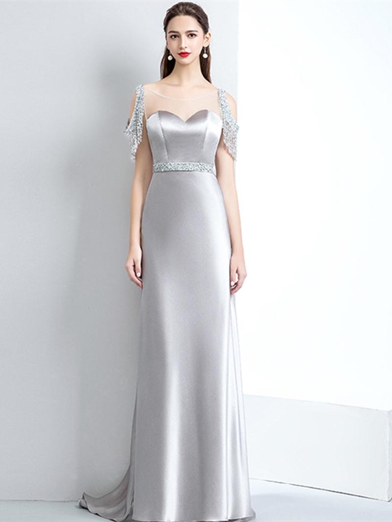Ericdress A-Line Short Sleeve Beading Tassel Evening Dress