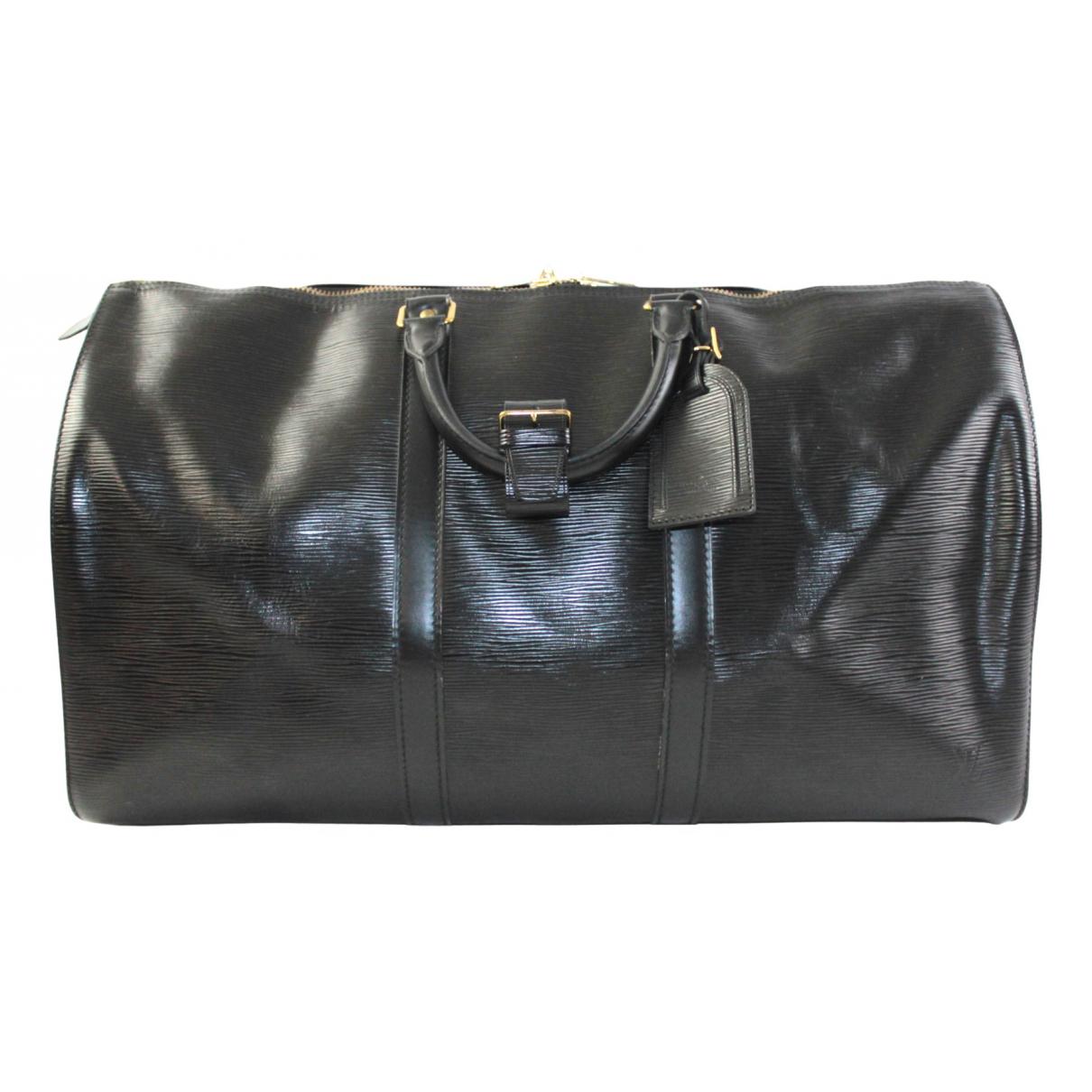 Louis Vuitton Keepall Reisetasche in  Schwarz Leder