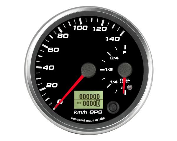 SpeedHut GRM4-DUALGPS-SF-02 Dual Gauge - 140kmh Metric GPS Speedometer  Fuel level