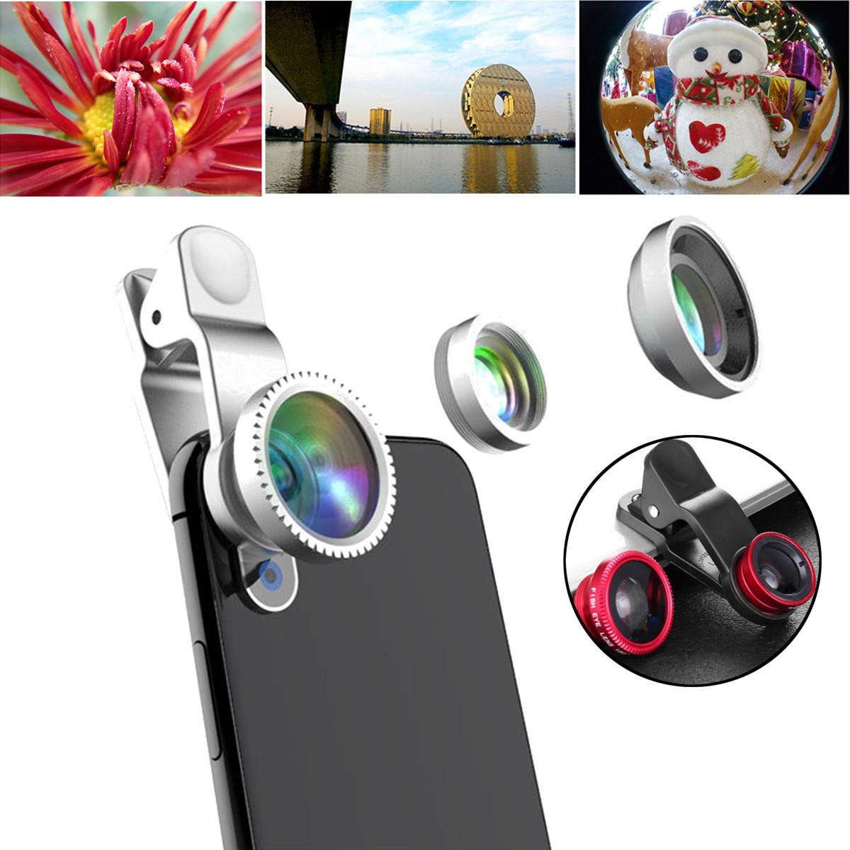 Universal 3 in1 HD 0.65X Wide Angle 10X Macro Fisheye Camera Lens for Xiaomi Samsung iPhone