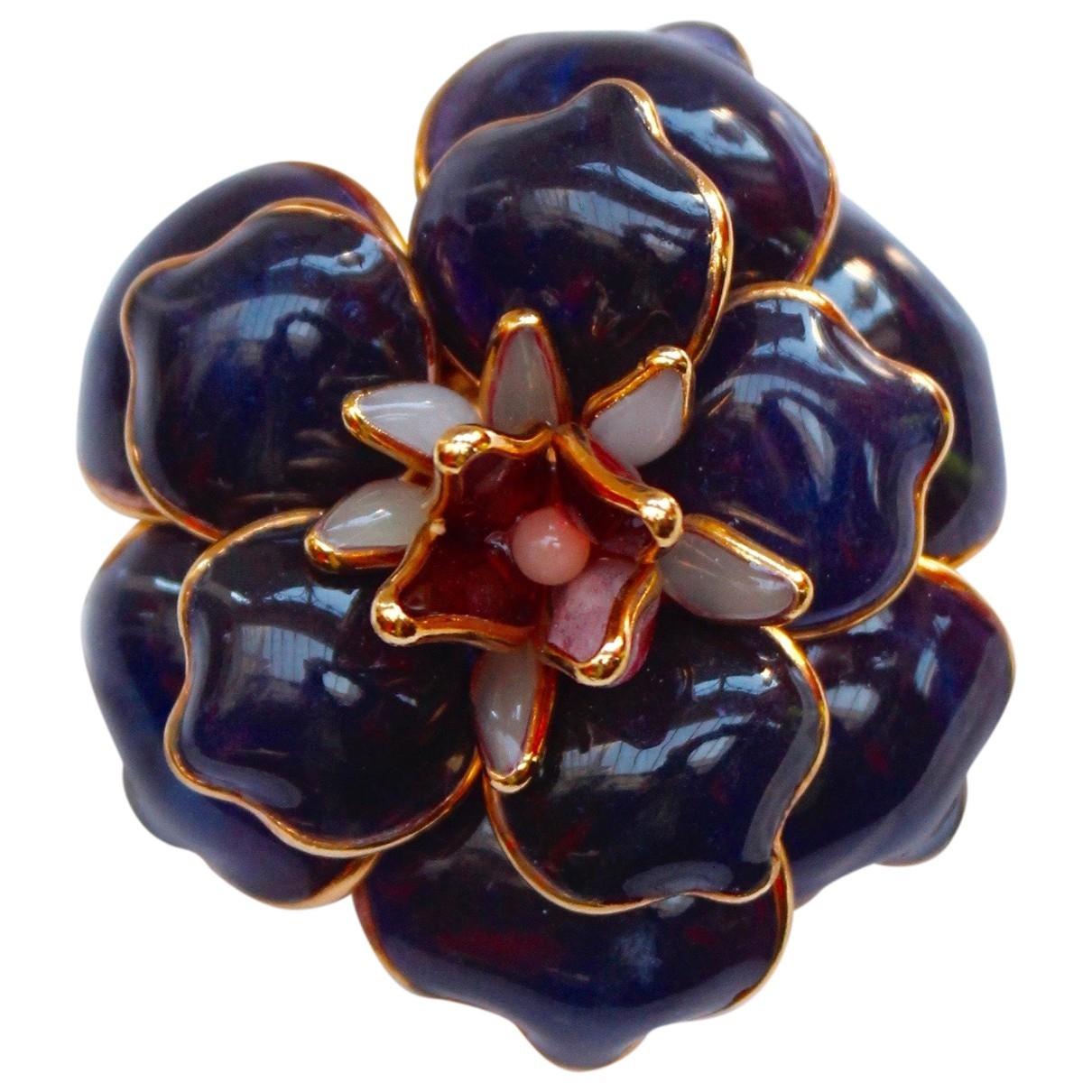 - Broche Motifs Floraux pour femme en verre - violet