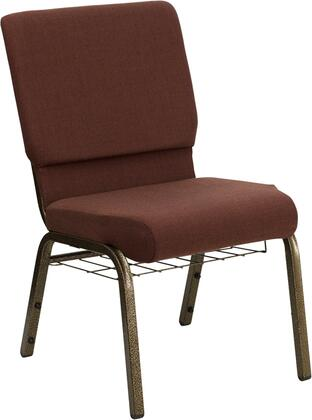 Hercules Collection FD-CH02185-GV-10355-BAS-GG Multipurpose Church Chair with Book Rack  Communion Cup Holder  Contemporary Style  Floor Protector