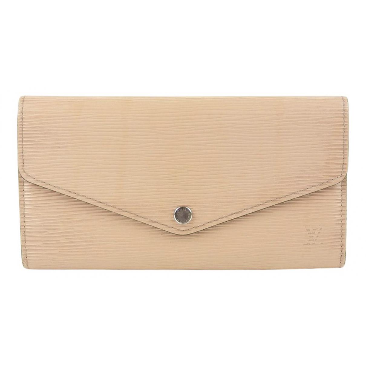 Louis Vuitton - Portefeuille Sarah pour femme en cuir - beige