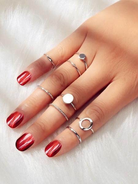 Milanoo Blond Rings Metal Pearls 8 Piece Women Jewelry