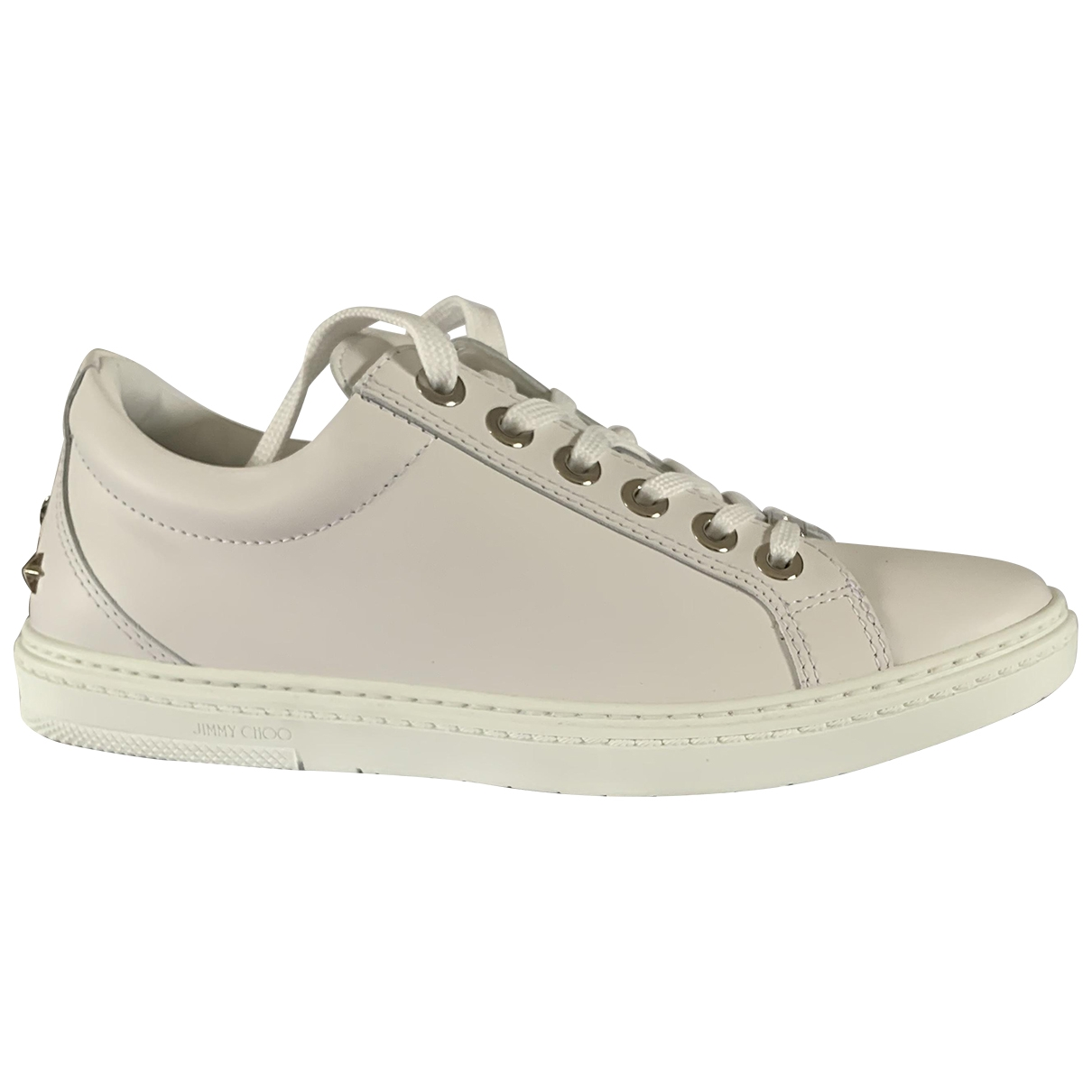Jimmy Choo Cash Sneakers in  Weiss Leder