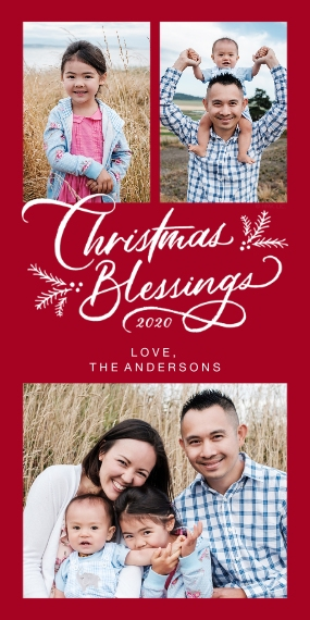 Christmas Photo Cards Flat Matte Photo Paper Cards with Envelopes, 4x8, Card & Stationery -Christmas Blessings Photo Collage by Hallmark