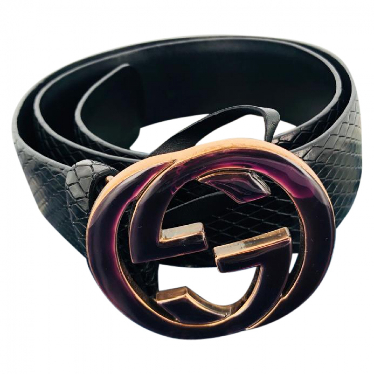 Gucci Interlocking Buckle Black Leather belt for Women 90 cm