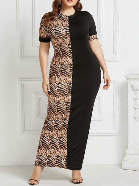 Milanoo Vestidos largos Mangas cortas Estampado de leopardo Talla extra grande Cuello joya Vestido largo Lapiz elastico Vestido largo