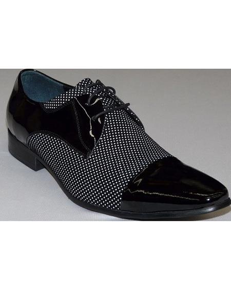 Men's Black ~ White Cushioned Insole Three Eyelet Lacing Cap Toe Shoe