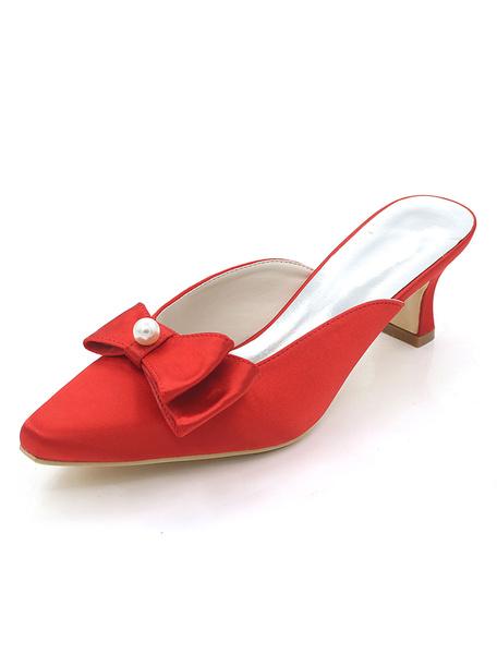 Milanoo Gold Wedding Mules Square Toe Chunky Heel Bows Pearls Bridal Slides