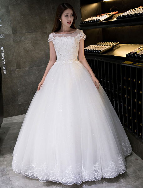 Milanoo Vestido de novia princesa hasta el suelo con escote barco con manga corta De banda de encaje estilo princesa