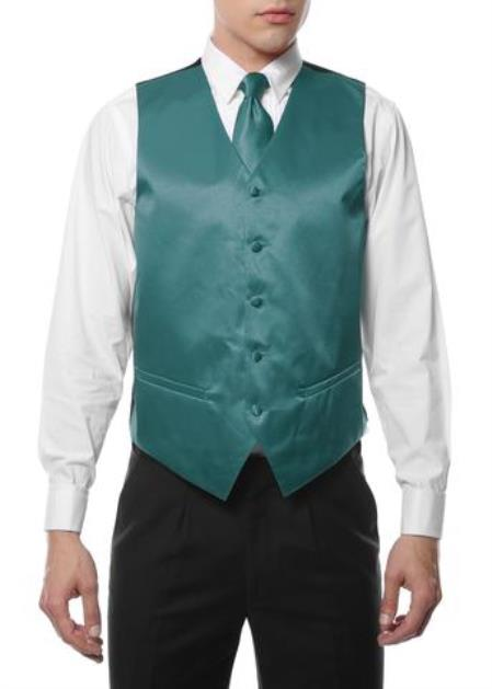 Mens 4PC Big and Tall Vest & Tie & Bow Tie and Hankie Teal