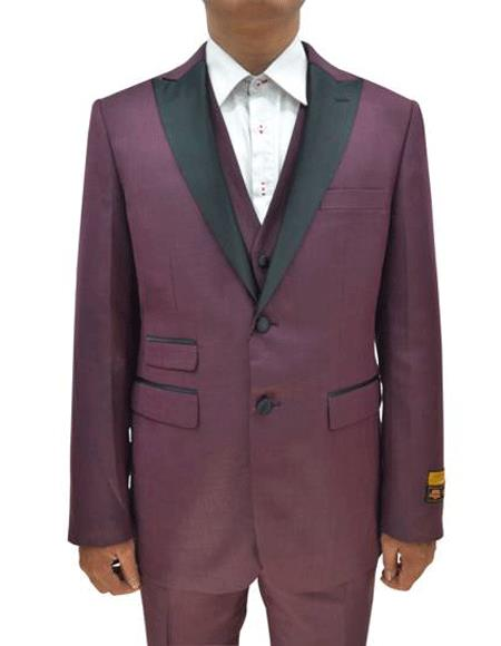 2 Button  Tuxedo Ticket Pocket  3 Pieces Flat Front Pants Burgundy
