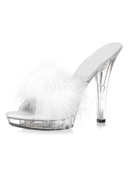 Milanoo Black Sexy Sandals Women Open Toe Fur Detail Slide Sandals High Heel Sandals