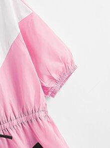 Winddichtes Kleid mit halbem Reissverschluss und Farbblock