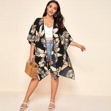 Kimono con estampado tropical con abertura lateral