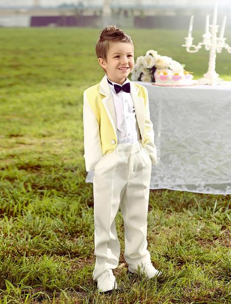 Milanoo Traje amarillo de niño de boda del portador del anillo  Chaqueta Pantalones Camisas Pajarita  Formal 4 Piezas